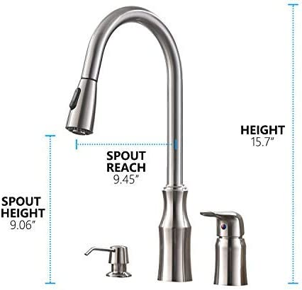 Hotis 3 Hole Kitchen Sink Faucet With Pull Down Sprayer Soap Dispenser Stainless Steel Single Handle Kitchen Faucet Brushed Nickel Buy Online At Best Price In Uae Amazon Ae