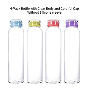 MIU COLOR Glass Water Bottles, for Beverage, Drinking, Juice Bottle, Milk Container, to Go Sports, 16 oz, BPA Free