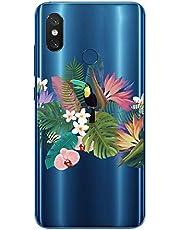 Oihxse Case Transparente Suave TPU Compatible con Xiaomi Mi Mix 2s Funda [Lindo Caricatura Flor Serie Dibujos] Cristal Protector Carcasa Anti Rasguños Bumper Cover-Loro