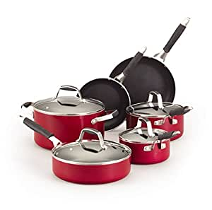 Guy fieri 5099783 10 piece nonstick cookware for Naaptol kitchen set 70 pieces