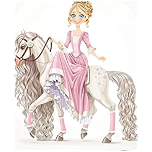 Kisscase Custom Blanket Teen Girls Collection pretty Smiling Princess on A White Horse with A Long Mane Happiness Theme Bedroom Living Room Dorm Cream Pink