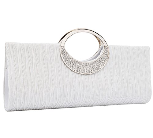 U-Story Elegant Evening Rhinestone Satin Pleated Wedding Party Clutch Purse Handbag (White) by U-Story