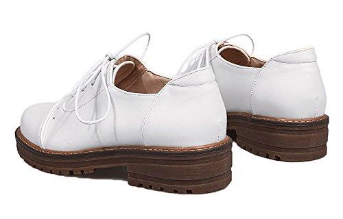 AgooLar Damen Rein PU Niedriger Absatz Rund Zehe Schnüren Pumps Schuhe Weiß