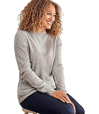 aa1c12058 Woolovers Womens Cashmere Merino Turtle Neck Fine Knit Roll Neck Long  Sleeve Sweater Top Knitted Jumper Grey Marl, M: Amazon.co.uk: Clothing