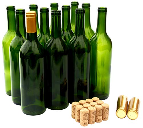 North Mountain Supply 750ml Champagne Green Glass Bordeaux Wine Bottle Flat-Bottomed Cork Finish - with #8 Premium Natural Corks & Gold PVC Shrink Capsules - Case of - Bottle 750 Champagne Ml