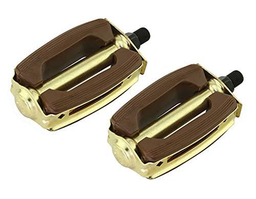 Lowrider Krate ラバーペダル 1/2ブラウンとゴールド 1ピースクランクで作動します。 ペアで販売。 自転車パーツ クルーザー、BMX、トライク、自転車パーツ   B07H79KJBX