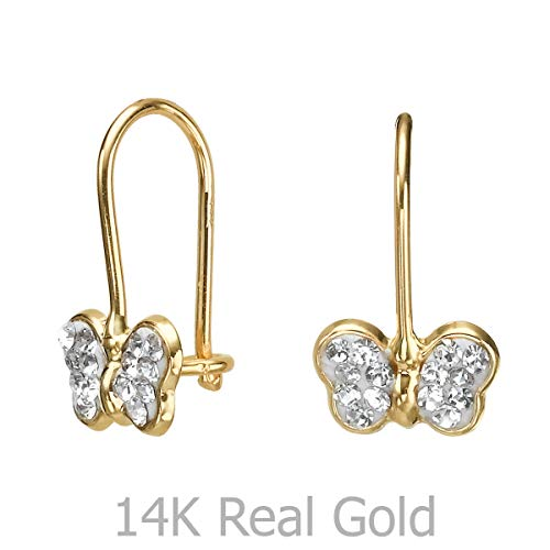 - 14K Solid Yellow Gold Eliptical Hoop Earrings Animals Corinne Butterfly Cubic Zirconia Children Baby