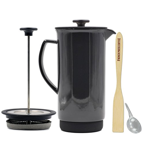 Ceramic French Press Coffee Press + Bonus Wooden Spoon (Black Graphite, 32 oz)