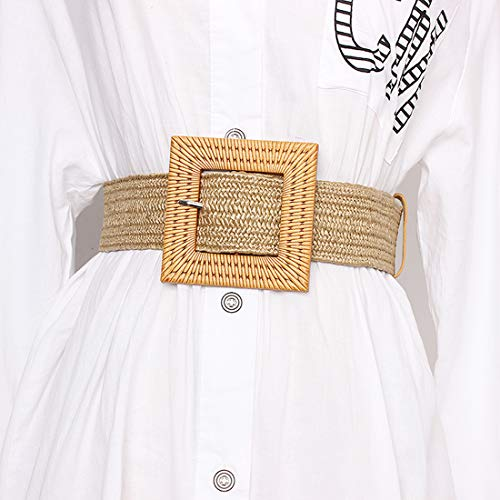 Women Skinny Dress Belt, Fashion Straw Woven Elastic Stretch Waist Band Wood Buckle Belt