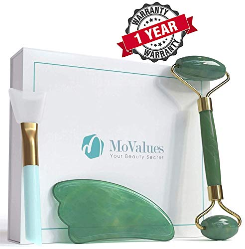 Original Jade Roller and Gua Sha Tools Set - Jade Roller for Face - Real 100% Jade - Face Roller for Wrinkles, Anti Aging - Authentic, Durable, Natural, No Squeaks - with Mask Brush