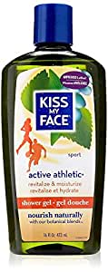 Kiss My Face Active Athletic Birch & Eucalyptus Reviving Moisturizing Shower Gel, Bath and Body Wash, 16 oz (Pack of 3)