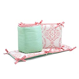 Mint Green Dots and Coral Pink Medallion Print Reversible Baby Crib Bumper