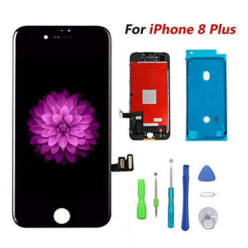 FFtopu Compatible with iPhone 8 Plus Black (5.5''),LCD Display & Touch Screen Digitizer Frame Assembly Set with 3D Touch Free Repair Tool