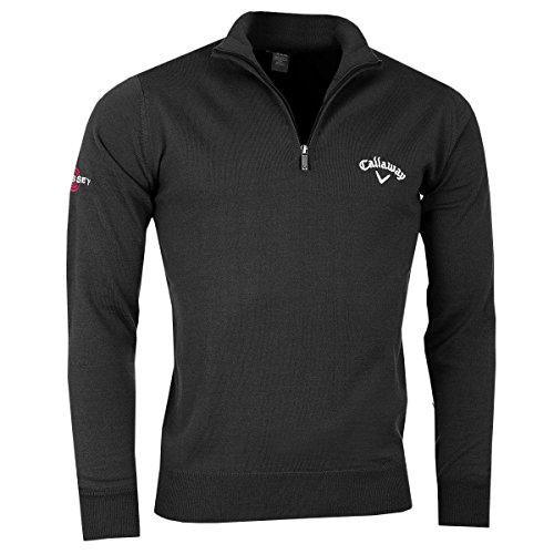 olf 1/4 Zip Jersey Wool Sweater Thermal Pullover Black Large (Callaway Golf Jersey)