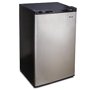 Della 3.2 Cu. Ft. Compact Refrigerator and Freezer Energy Saving, Reversible Door, Stainless Steel