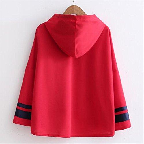 Cappuccio Allentato Felpe Stampata Lunghe Tops Donna Inverno Sweatshirt con Hoodie Autunno Casual Red Pullover Oversize Lettera Elegante Maniche Aivosen Moda wUEdSqcxwC