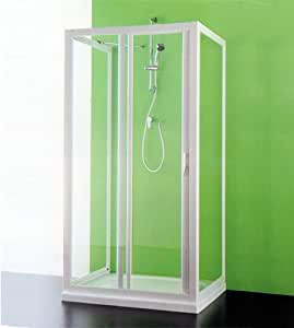Box ducha 3 lados, tamaño Maestro 2 cm.110 – 100, puertas fijas Ma y CC cm.77 – 80 cabina deslizante color blanco de acrílico: Amazon.es: Bricolaje y herramientas