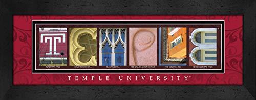Prints Charming Letter Art Framed Print, Temple University-Temple, Bold Color Border