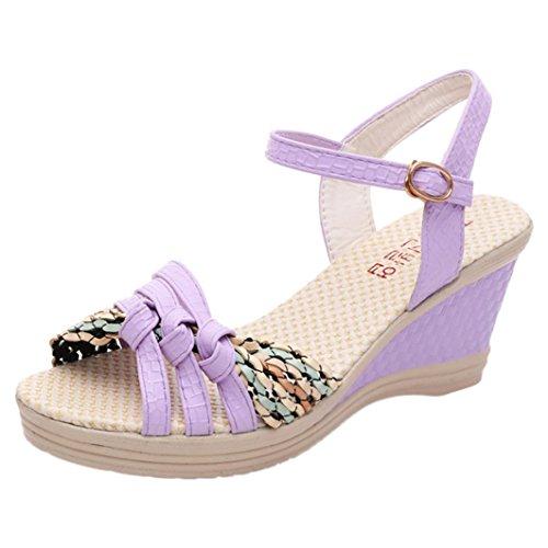 Longra 2018 Sandales D'été Des Femmes, Dame Chaussures Talon Haut En Coin De Ressort Bohème Sangles Croisées Rome Plate-forme Orteil Chaussures Violet