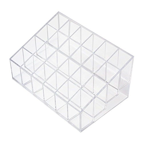 Transparent Acrylic Rack (Gospire Clear Acrylic Cosmetic Makeup Organizer Transparent for Lipstick, Brushes, Bottles, and More Clear Case Display Rack Holder 24 Slots (in a 6 x 4 Arrangement))