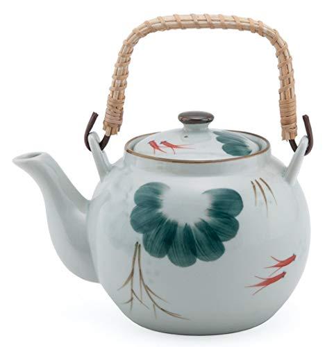 Japanese Style Porcelain Gold Fish Kingyo Design Ceramic Dobin Teapot with Rattan Handle 38 fl oz Teapot with Stainless Steel Infuser Strainer for Loose Leaf Tea (Tea Pot)