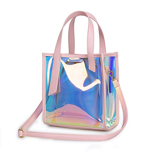 Mn&Sue Summer Vacation Women's DesignerCelebrity Hologram LaserJelly Candy Bag Shoulder Purse (Pink-Style A)