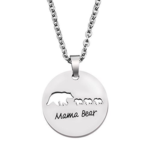 Mama 1 Pendant (KUIYAI Sweet Family Mama and Baby Bear Round Necklace Gift for Mothers with 3 Children (Round 3 Cubs))