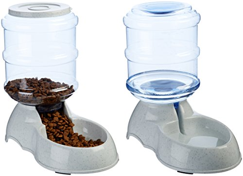 AmazonBasics Small Gravity Pet Food Feeder and Water Dispenser Bundle