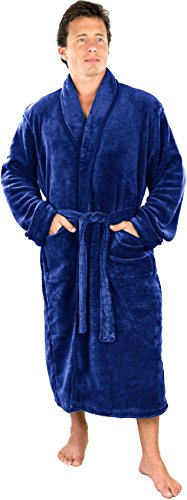 Men's Fleece bathrobe (Large/X-Large, Navy) -...