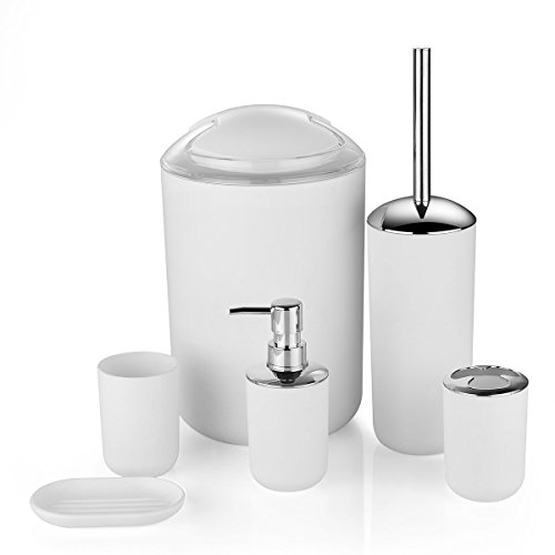 Zuvo 6 Pcs Plastic Bathroom Accessory Set Luxury Bath Accessories Bath Set Lotion Bottles, Toothbrush Holder, Tooth Mug, Soap Dish, Toilet Brush, Trash Can, Rubbish Bin (White)
