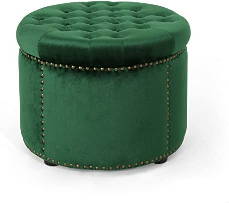 Christopher Knight Home Carlos Glam Velvet Tufted Ottoman