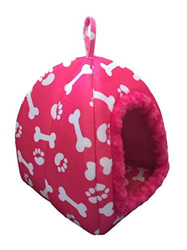 WOWOWMEOW Small Animals Warm Cave Bed Bones & Paws Print House for Guinea Pigs, Hamsters, Chinchillas, Hedgehogs, Squirrels and Rabbits (Pink)