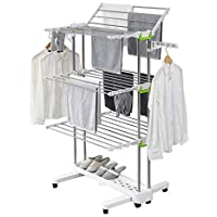 Large Foldable Clothes Airer Laundry Drying Rack Rolling Stainless Steel Rod 8 Casters