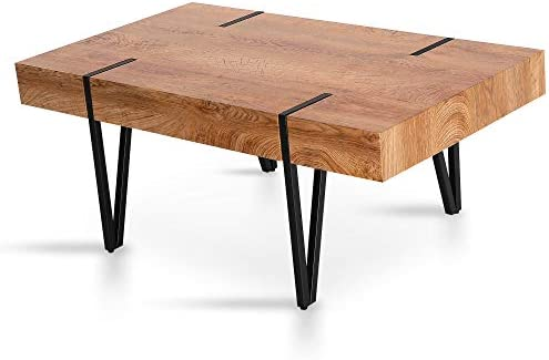 Mcombo Modern Industrial Coffee Table for Living Room Mid-Century Rustic Plant Table Top Sofa Table 42x24x17inch