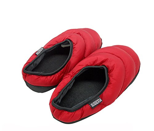 Unisex Cozy Quilted Down Warm House Clog Slippers Socks, Womens Mens Waterproof Winter Thermal Fleece Lining Ankle Snow Boots Indoor Non-slip Slip on Booties Shoes Lightweight Bedroom Mules Slippers Red