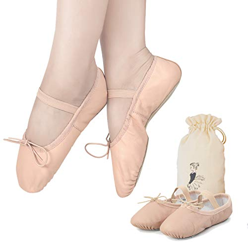 Ballet Shoes for Toddler Girls Dance Full Sole Leather Ballet Slippers (10M US Toddler, Ballet Pink)