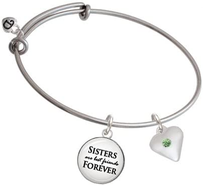 Delight Jewelry Large Birthday Crystal Heart Sisters are Best Friends Bangle Bracelet