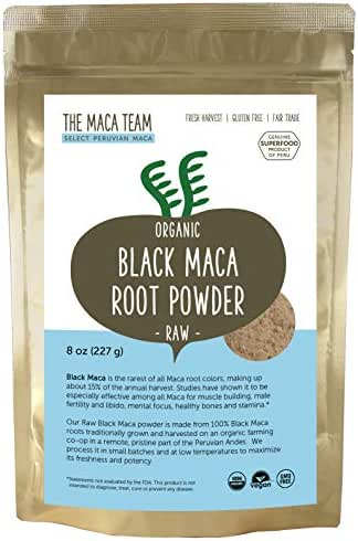 The Maca Team Raw Black Maca Powder, Raw and Vegan Maca Powder Fresh from Peru, 8 Ounces, 25 Servings