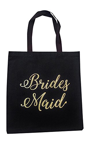 The Spoiled Office Wedding Party Bridal Tote Bag with Gold Lettering - Large Canvas 15'' x 16'' (Bridesmaid in Black) by The Spoiled Office