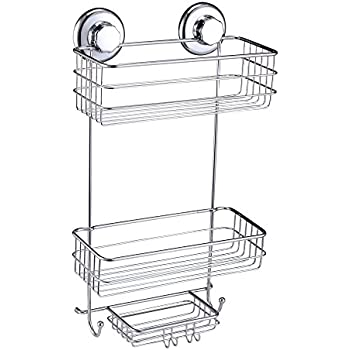 HASKO Accessories   Powerful Vacuum Suction Cup Shower Caddy   Basket For  Shampoo, Conditioner,