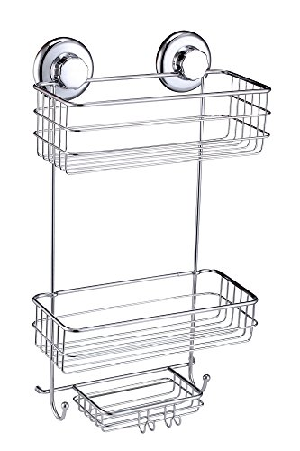 HASKO accessories - Powerful Vacuum Suction Cup Shower Caddy - Basket for Shampoo, Conditioner, Soap, Razors - 2 Tiers Stainless Steel (Chrome)