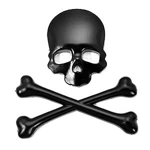 1pcsx Plata 3d 3m cr/áneo del metal Skeleton Crossbones Dise/ño etiqueta engomada del coche etiqueta cr/áneo insignia del emblema de bici de la motocicleta