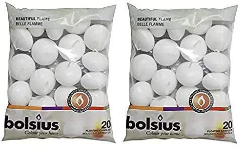 BOLSIUS Unscented Floating Candles - Set of 20 White Floating Candles - Cute and Elegant Burning Candles - Candles with Nice and Smooth Flame - Party Accessories (Twо Расk)