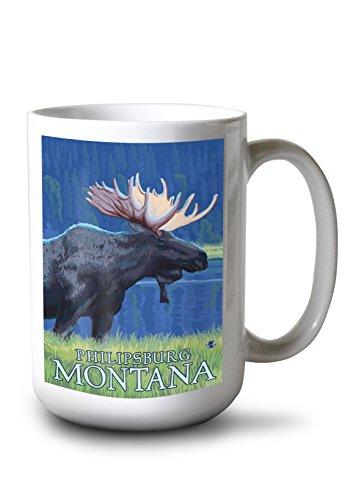 Lantern Press Philipsburg, Montana - Moonlight Moose (15oz White Ceramic Mug) -