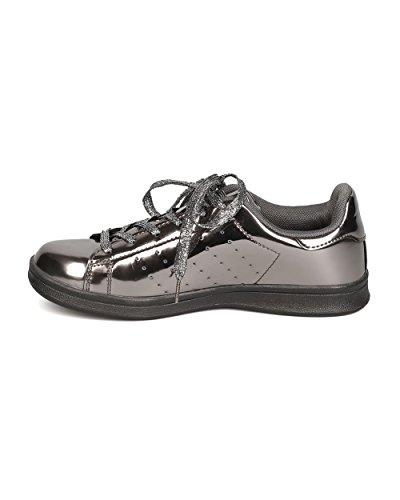 Qupid Ff60 Zapatillas De Deporte Con Cordones En Punta De Cuero Sintético Para Mujer Qupid Ff60 - Peltre