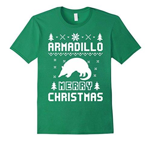 Men's Armadillo Ugly Christmas Sweater T-shirt 2XL Kelly Green (Armadillo Costume)