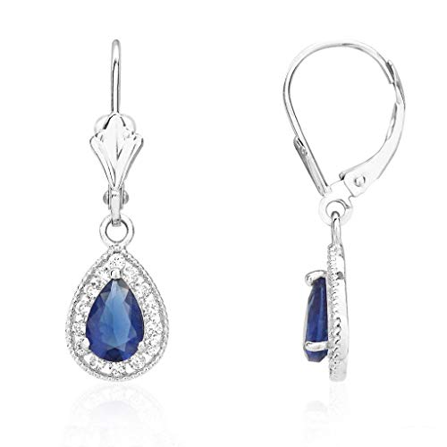 14K White Gold CZ Birthstone Milgrain Halo Teardrop Dangle Leverback Earrings, ()