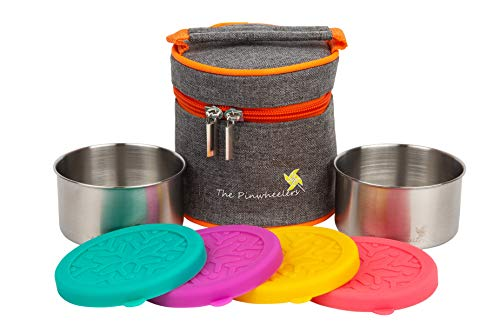 Prep Containers w/Insulated Lunch Bag (2-Pc. Set) Stainless Steel Containers, Leakproof Silicone Lids | Reusable, Ecofriendly, Stackable, Portable | Store Healthy Meals ()