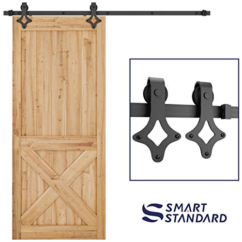 SMARTSTANDARD 6.6 FT Heavy Duty Sliding Barn Door Hardware Kit, Single Rail, Black, Smoothly and Quietly, Simple and Easy to Install, Fit 36