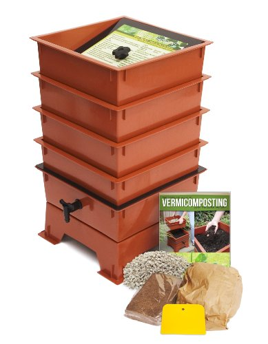 Worm Factory DS4TT 4-Tray Worm Composter, Terra - Design Worm Terra Cotta